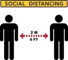 Bandera de distanciamiento social. mantén la distancia vector