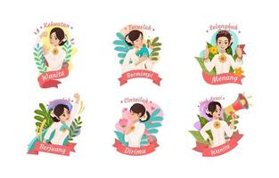 Cartoon Cute Kartini Day Badge Set vector