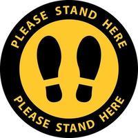advertencia de huella de pie. por favor, párate aquí vector