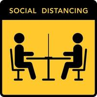 Keep the distance in restaurants sign vector