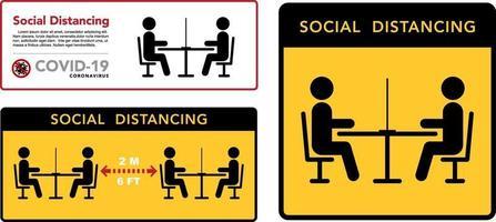 Keep the distance in restaurants sign set vector