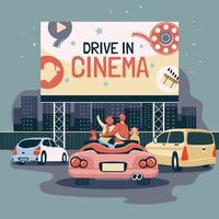 Romantic Couple Dating at Drive In Cinema vector