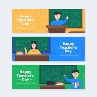 Happy Teacher's Day Banner Set vector