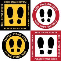 Social distancing, stand here sign set vector