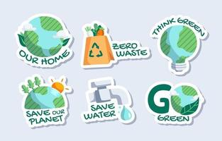 Earth Day Sticker Collection vector