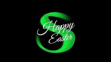 texto de animação feliz páscoa em moda verde e fundo de pincel video