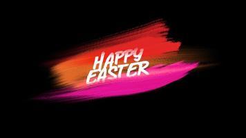 animação texto feliz páscoa em vermelho e rosa moda e fundo de pincel video