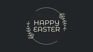 Animationstext glückliches Ostern auf schwarzem Mode- und Minimalismushintergrund mit Blumenrahmen video