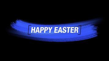 texte d'animation joyeuses pâques sur fond bleu mode et pinceau video