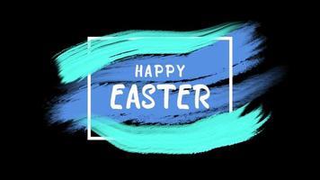 texto de animação feliz páscoa em fundo azul e pincel video