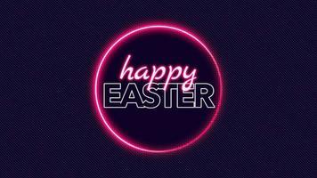 texto de animación feliz pascua en el fondo de moda y club con círculo brillante video