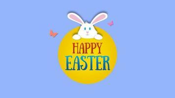 closeup animado feliz texto de páscoa e coelho em fundo azul video