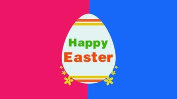 closeup animado texto feliz páscoa e ovo em fundo vermelho e azul vertigem video
