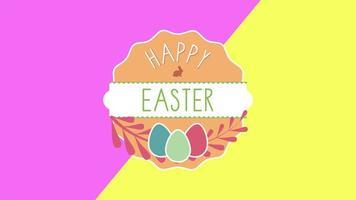 animierte Nahaufnahme glücklich Ostern Text und Eier auf rosa und gelbem Schwindel video