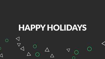 animação texto boas festas e movimento formas geométricas abstratas, fundo disco