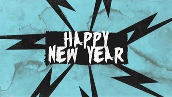 animatie intro tekst gelukkig nieuwjaar op rode hipster en grunge achtergrond