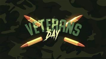animation text veterans dag på militär bakgrund med beskyddare