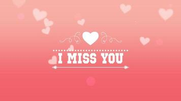 primo piano animato mi manchi testo e movimento romantici piccoli cuori bianchi su sfondo rosa San Valentino video