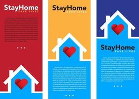 Stay at home banner set vector