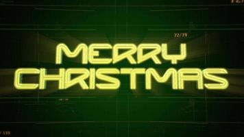 animação intro texto feliz natal e fundo de animação cyberpunk com matriz de computador, números e grade