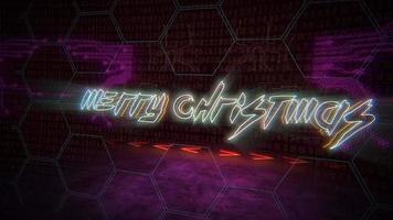 texte d & # 39; introduction d & # 39; animation joyeux noël et fond d & # 39; animation cyberpunk avec matrice informatique, nombres et grille