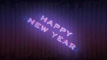 animação texto feliz ano novo e fundo de animação cyberpunk com matriz de computador, números e grade