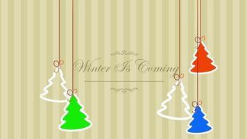 animierte Nahaufnahme Winter kommt Text und Weihnachtsbäume auf Winterferienhintergrund