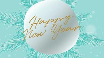 closeup animado texto de feliz ano novo e paisagem de inverno com flocos de neve no fundo do feriado