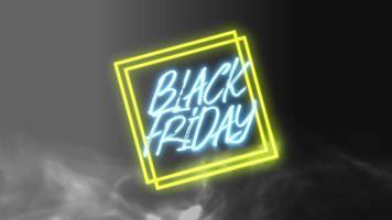 Animación texto de introducción viernes negro sobre fondo de moda y club con cuadrados brillantes video