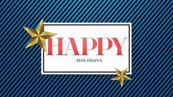 animierte Nahaufnahme frohe Feiertage Text und Geschenkdesign mit goldenen Sternen auf Feiertagshintergrund