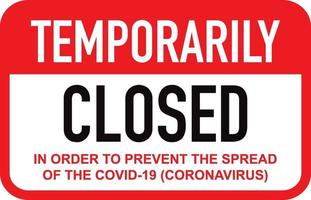 Office temporarily closed for coronavirus sign vector