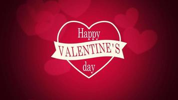 animierte Nahaufnahme glücklich Valentinstag Text und Bewegung romantische große und kleine rote Herzen auf Valentinstag Hintergrund