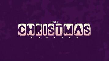 animatie intro tekst vrolijk kerstfeest op paarse hipster en grunge achtergrond