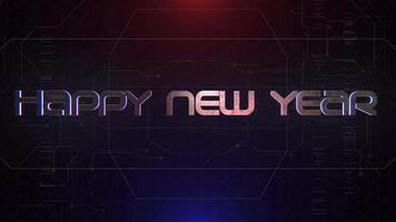 texto de introdução de animação feliz ano novo e fundo de animação cyberpunk com matriz de computador, números e grade