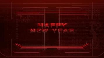 texto de introdução de animação feliz ano novo e fundo de animação cyberpunk com matriz de computador, números e grade video
