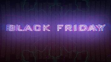 texte d & # 39; introduction d & # 39; animation vendredi noir et fond d & # 39; animation cyberpunk avec matrice informatique, nombres et grille