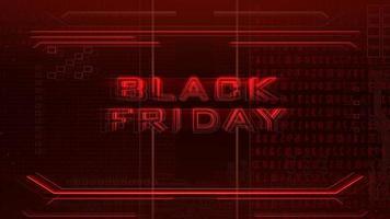 Animations-Intro-Text schwarzer Freitag und Cyberpunk-Animationshintergrund mit Computermatrix, Zahlen und Gitter video