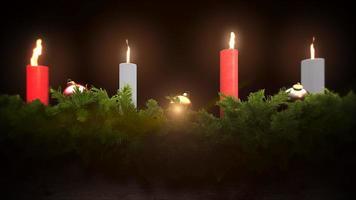 geanimeerde close-up groene boomtakken Kerst kaarsen op donkere achtergrond