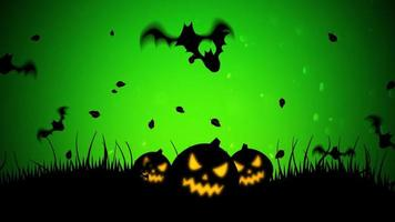 halloween bakgrundsanimering med fladdermöss och pumpor