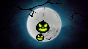 animação de fundo de halloween com morcegos e abóboras