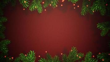Bokeh abstrait animé gros plan et branches d'arbres verts de Noël sur fond rouge video
