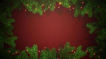 closeup animado abstrato bokeh e galhos de árvores verdes de Natal em fundo vermelho