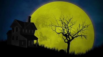 animation de fond halloween avec la maison et la lune video