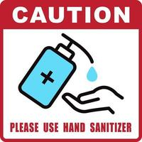 Use Hand Sanitizer sign vector