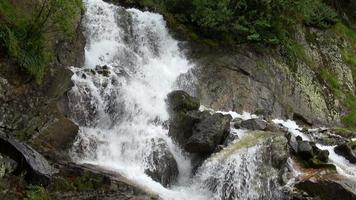 Betrachten Sie Wasserfallszenen in Bergen, Nationalpark Dombai, Kaukasus, Russland