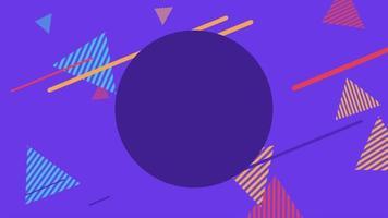 beweging abstracte geometrische vormen gestreepte driehoeken, paarse memphis achtergrond