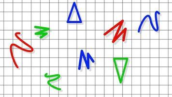movimento formas geométricas abstratas em ziguezague e triângulos, fundo de grade memphis video