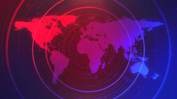 Animación gráfica de noticias con líneas y mapa del mundo, fondo abstracto video