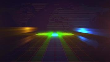 nyhetsintroduktion grafisk animation i nyhetsrum med neonlinjer och världskarta, abstrakt bakgrund video