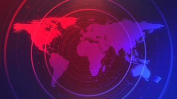 Animación gráfica de introducción de noticias con cuadrícula y mapa del mundo, fondo abstracto video